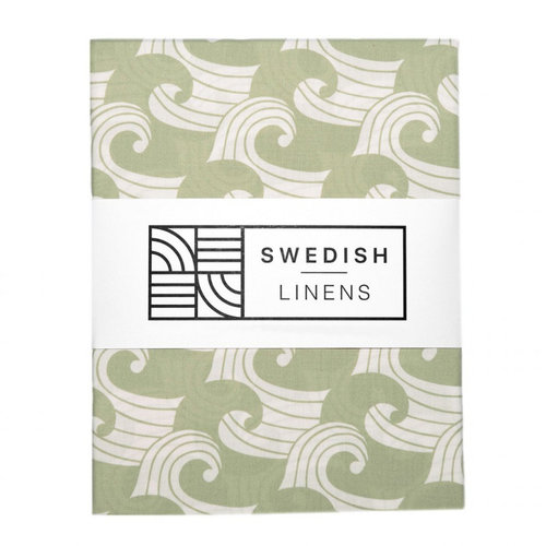 Swedish Linens Juniorbed hoeslaken | waves sage