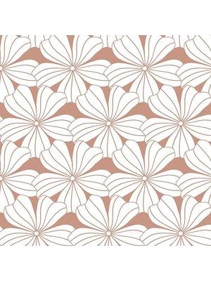 Swedish Linens Eenpersoons hoeslaken flowers | terracotta pink