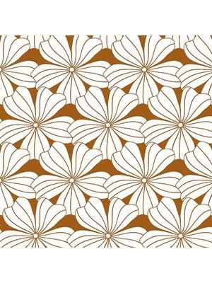 Swedish Linens Junior hoeslaken flowers | cinnamon brown