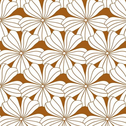 Swedish Linens Junior hoeslaken flowers | cinnamon brown