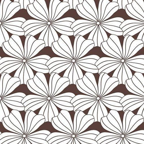Swedish Linens Eenpersoons hoeslaken flowers | dark chocolate