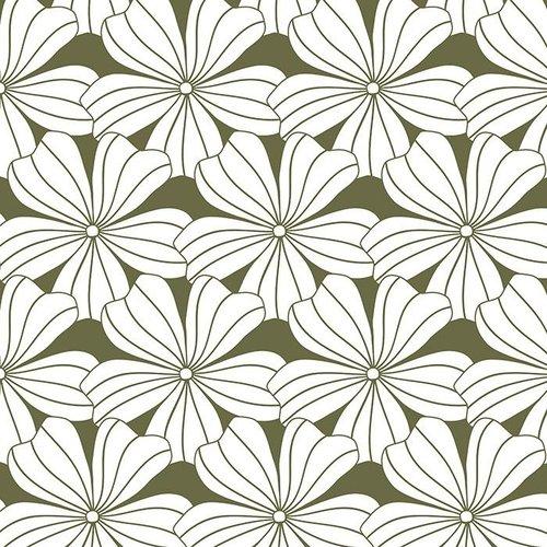 Swedish Linens Eenpersoons hoeslaken flowers | olive green