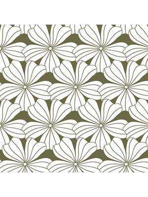 Swedish Linens Ledikant hoeslaken flowers | olive green