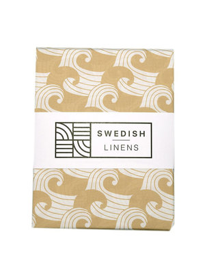 Swedish Linens Junior hoeslaken | waves warm sand