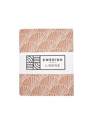 Swedish Linens Twee persoonshoeslaken | Seashells Terracotta white