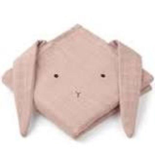 Liewood Hannah 2 pack hydrofiele doeken rabbit | tuscany rose