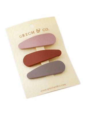 Grech & Co  Haarclips matte rust | set van 3