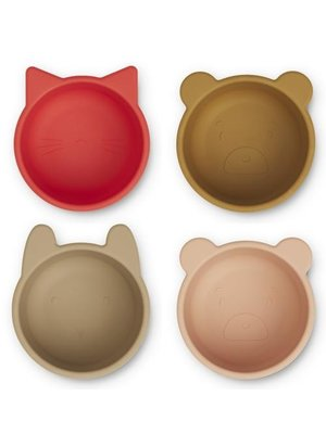 Liewood Malene silicone bowl 4-pack | Apple red-tuscany rose multi mix