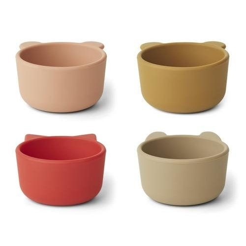Liewood Malene silicone bowl 4-pack   Apple red-tuscany rose multi mix