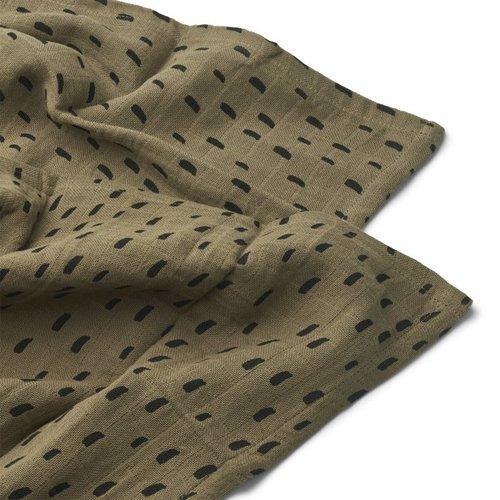 Liewood Hydrofiele doeken set van 2 | graphic stroke khaki