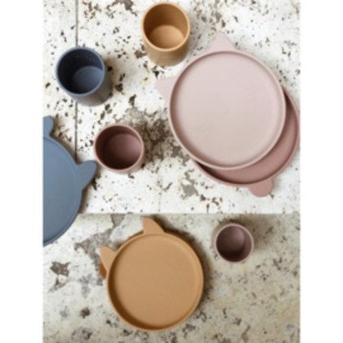 Liewood Olivia plate 2 pack siliconen bordjes | Cat light lavender rose mix