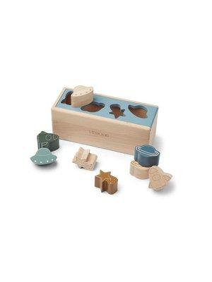 Liewood Midas puzzle box vormenstoof | space blue for multi mix