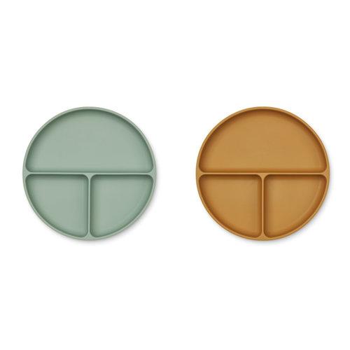Liewood Harvey divider plate vakjesbord | peppermint golden caramel (set van 2)