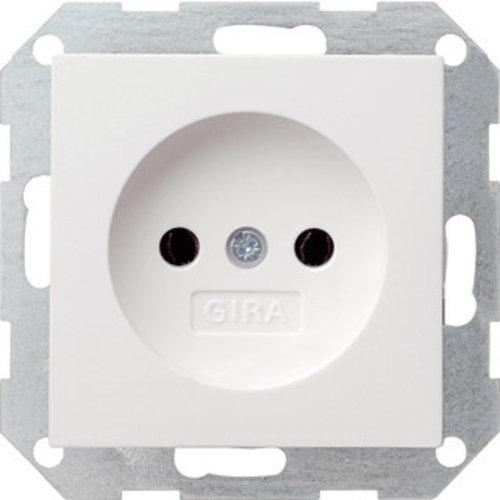 Gira GIRA wandcontactdoos ZONDER randaarde inbouw 1V Zuiver wit (hagelwit) 48003