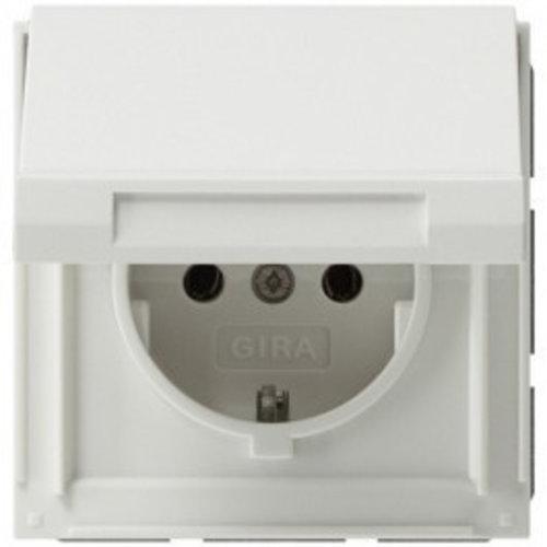 Gira GIRA TX44 waterdicht 1V wandcontactdoos met randaarde klapdeksel Zuiver wit (hagelwit) 045466