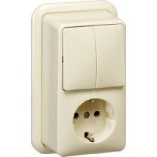 Gira GIRA opbouw combinatie serieschakelaar en wandcontactdoos met randaarde Wit (creme) 017510