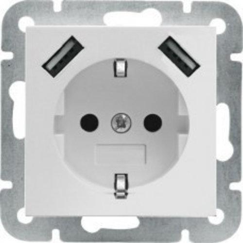 Jung Wandcontactdoos met RA + kinderveilig met 2 USB lader aansluiting Zuiverwit (Hagelwit)