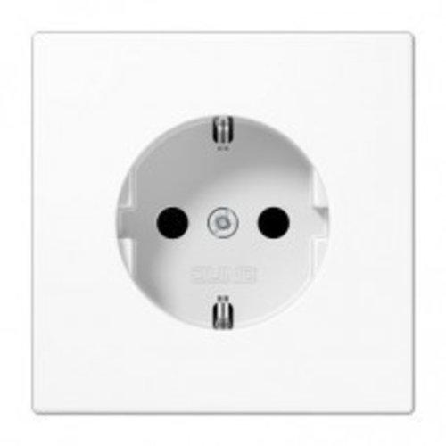 Jung JUNG LS990 1V wandcontactdoos met randaarde & kinderbeveiliging alpinwit (hagelwit) LS1520NKIWW