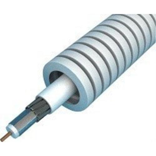 Preflex flexibele buis 16mm met Hirschmann coaxkabel 100 meter grijs