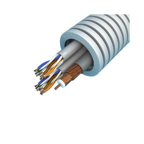 Preflex flexibele buis 20mm met Hirschmann coax-kabel en 2x UTP CAT.6 kabel 100 meter grijs