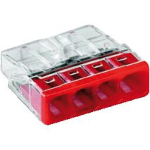Wago Wago Lasklem 4 polig transparant rood 2273-204 (100 stuks)