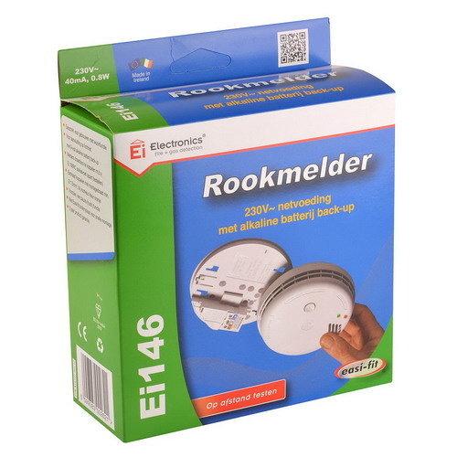 Ei146 optische rookmelder, 9V back-up batterij