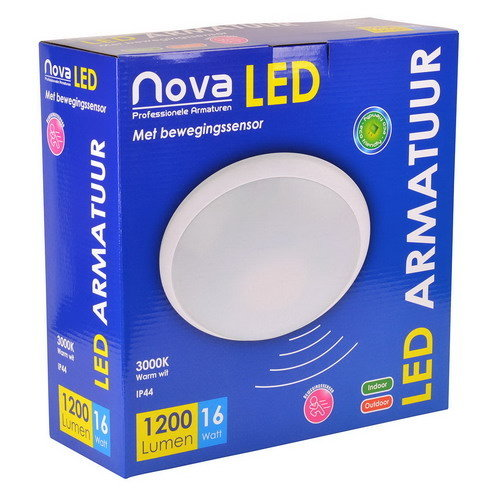 Nova LED PLAFOND/WAND 16W 3000K +SENSOR Ø300MM