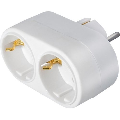 Stopcontact splitter 2 voudig wit horizontaal met randaarde