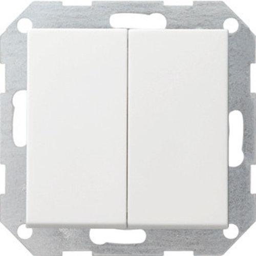 Gira GIRA drukvlakschakelaar 2-voudig wisselschakelaar systeem 55 Zuiver wit (hagelwit) 012803