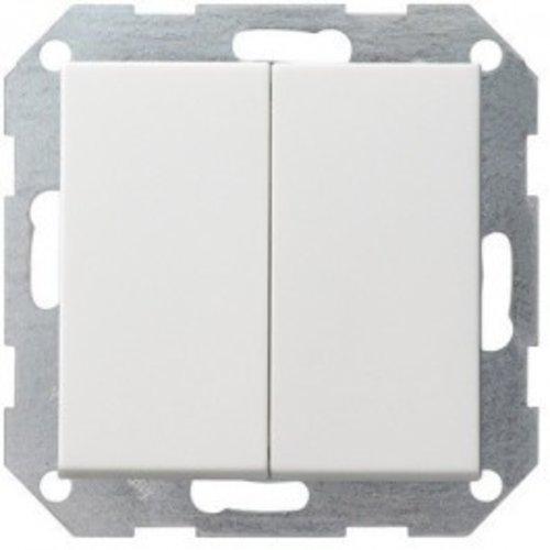 Gira GIRA drukvlakschakelaar 2-voudig serieschakelaar systeem 55 Zuiver wit (hagelwit) MAT 012527