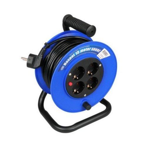 VB Haspel 15 meter 4v 3x1,0mm² + ra blauw vb extend