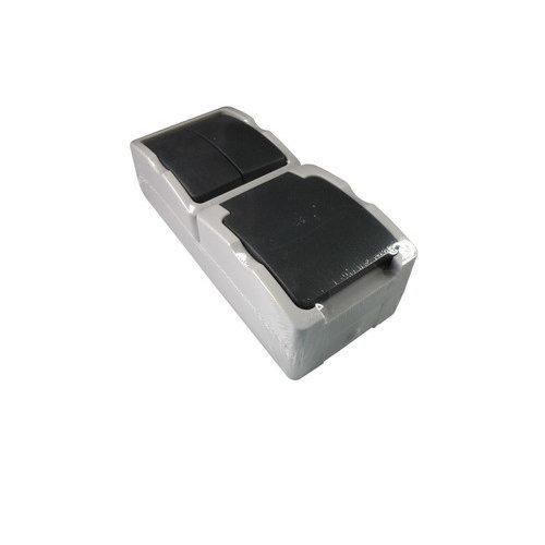 Combinatie serieschakelaar/wcd randaarde verticaal waterdicht opbouw Grijs