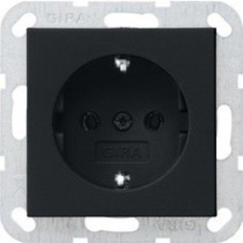 Gira Gira wandcontactdoos met randaarde 1V Mat Zwart 0466005