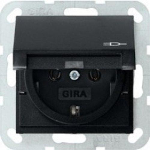 Gira Gira wandcontactdoos met randaarde klapdeksel 1V Mat Zwart 0454005