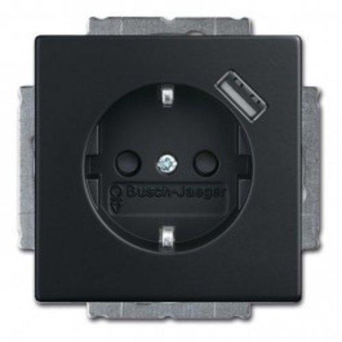 Busch-Jaeger Busch Jaeger Future Linear Wandcontactdoos kinderbeveiliging + USB-Lader MAT zwart 20 EUCBUSB-885