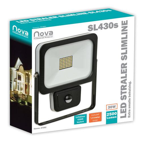 Nova LED straler SL430S Slimline 30W 4000K 2500 lumen +Sensor