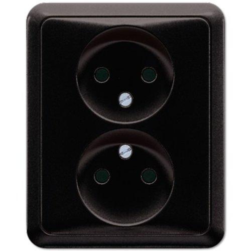 Jung Jung CD500 2-voudige wandcontactdoos zonder randaarde zwart - CD5010SW