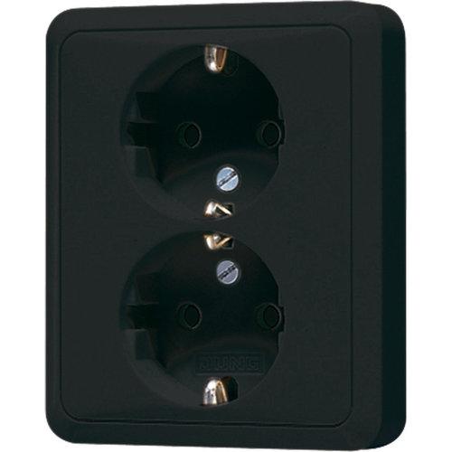 Jung Jung CD500 wandcontactdoos ra 2V zwart - CD5022NSW