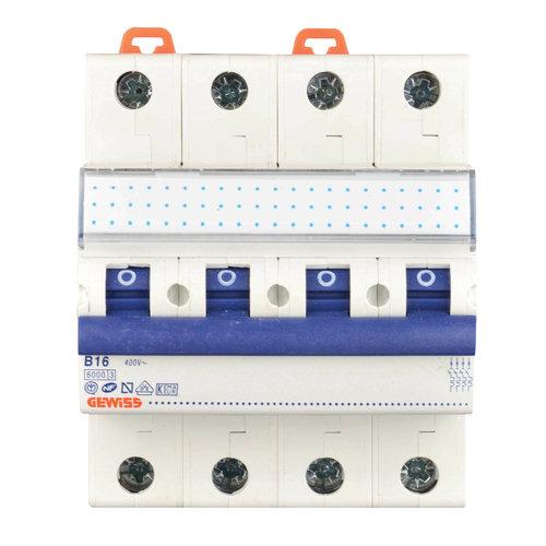 Gewiss Gewiss MCB installatieautomaat B karakteristiek 16a 4P krachtgroep - GW92287