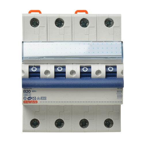 Gewiss Gewiss MCB installatieautomaat B karakteristiek 20a 4P krachtgroep - GW92288