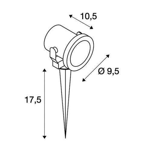 SLV SLV Nautilus buitenarmatuur spike hoogvolt halogeenlamp grondpen - 229740