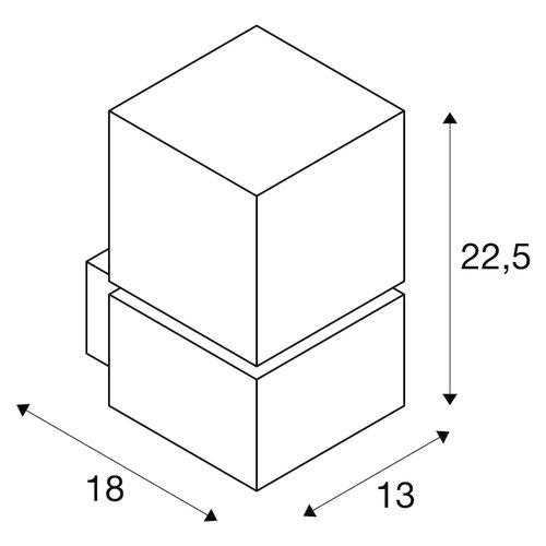 SLV SLV Square led armatuur e27 compactfluorescentielamp 180MM ip44 - 1000336