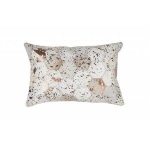 DF0062012-871 Ivory / Chrome Colorful Leather Ornamental Cushion