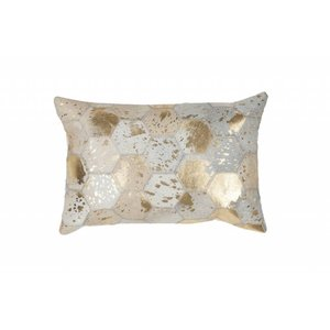 DF0062012-872 Ivory / Gold Colorful Leather Ornamental Cushions