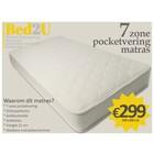 Bed2U 140 x 200 Topkwaliteit 7 zone pocketvering matras