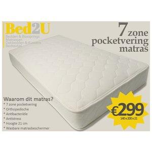 Bed2U 140 x 200 de haute qualité zone 7 matelas à ressorts ensachés