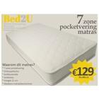 Bed2U 70 x 200 Topkwaliteit 7 zone pocketvering matras
