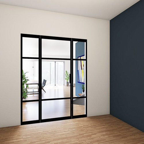 Enkele stalen taatsdeur met 2 zijlichten - 2315x1840mm