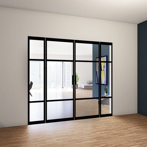 Dubbele stalen taatsdeuren met 2 zijlichten - 2580x2765mm