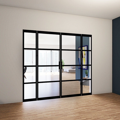 Dubbele stalen taatsdeuren met 2 zijlichten - 2315x2765